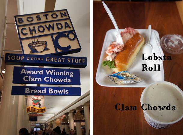 Chowda and Lobsta Rolls in Quincy Market, Boston