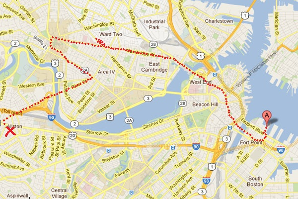 Chaotic way to reach South Boston