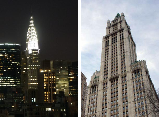 Chrysler Buiding by night and the Woolworth - New York