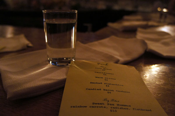 Water and menu - Drink Boston