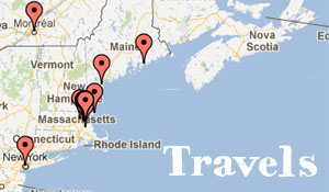 Map of our trips in the United States