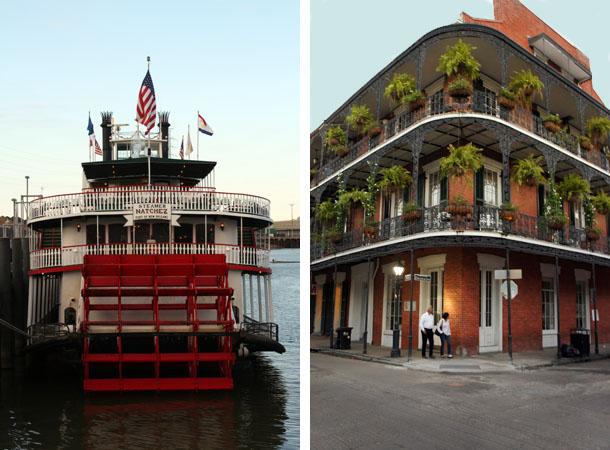 Bateau à roues à aubes sur le Mississippi, et maison dans la rue Royale à la Nouvelle Orléans, Louisiane