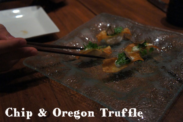 Chip and Oregon Truffle sushi - Oya Boston