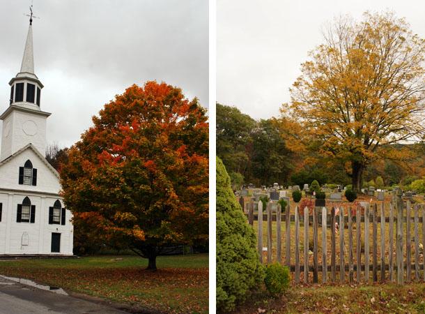 Eglise et cimetière dans le Vermont