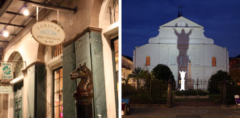 Giant Jesus de la cathédrale de New Orleans et les poteaux-chevaux