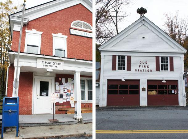 La poste et la caserne de pompiers de Grafton, dans le Vermont