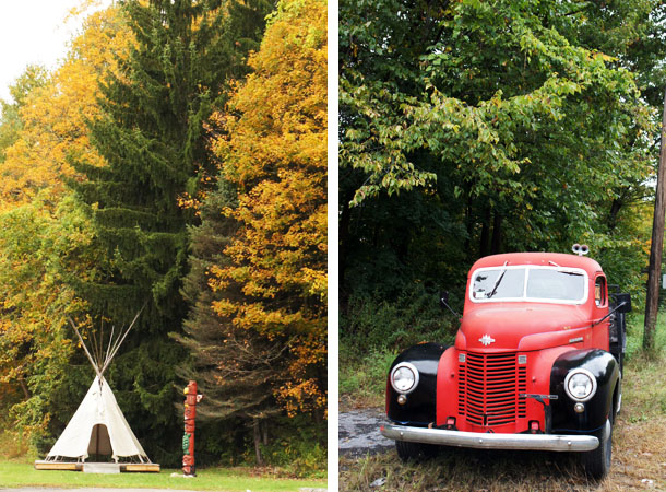 Tipi and car along the Mohawk Trail Massachusetts