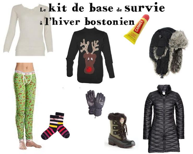 Kit de survie des vêtemenst à porter l'hiver à Boston