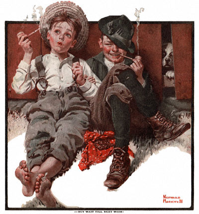 Smoking boys - Norman Rockwell