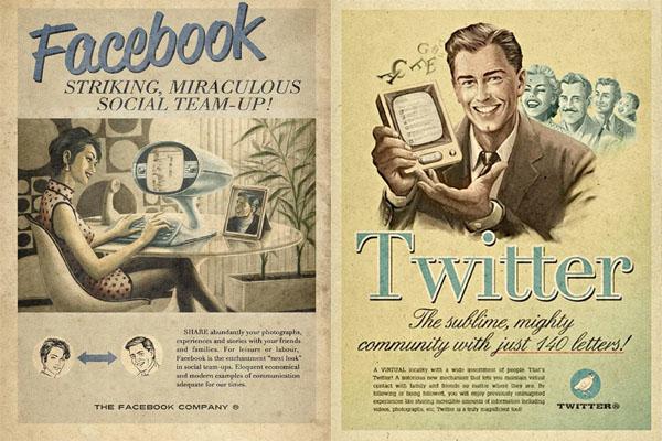FAcebook et Twitter vintage Poster