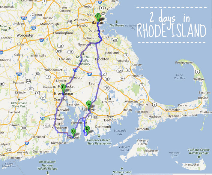 2 days in Rhode Island - map
