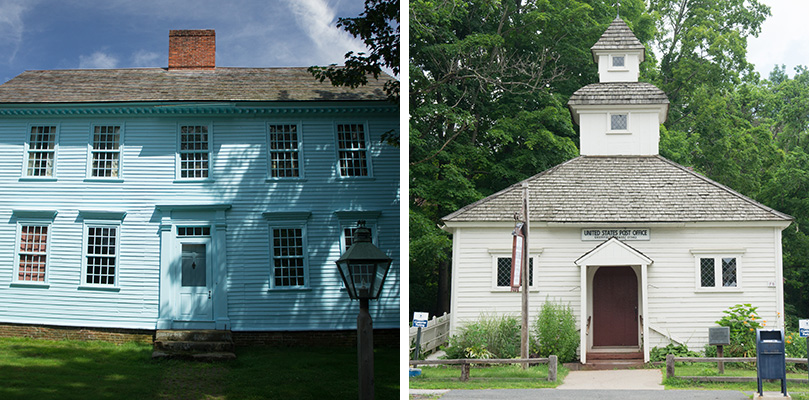 Post office and blue house in Historic Deerfield