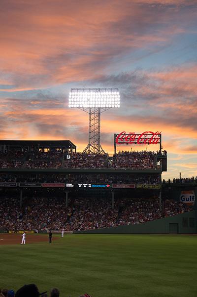 Sunset over Fenway Park Boston