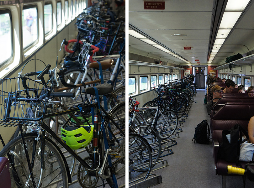 Les vélos dans le train - commuter rail Boston