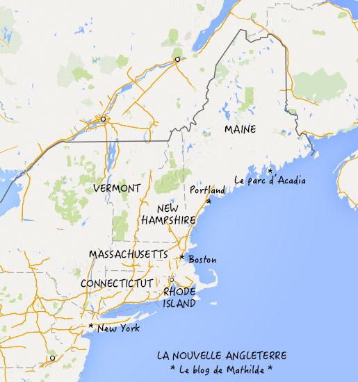 Carte Cote Est Usa Ville.Visiter La Nouvelle Angleterre Le Blog De Mathilde