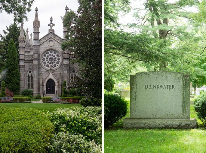 Eglise et tombe - Mount Auburn Cemetery