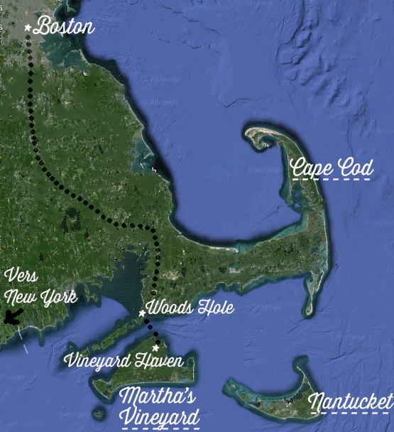 carte cape cod de boston à martha's vineyard