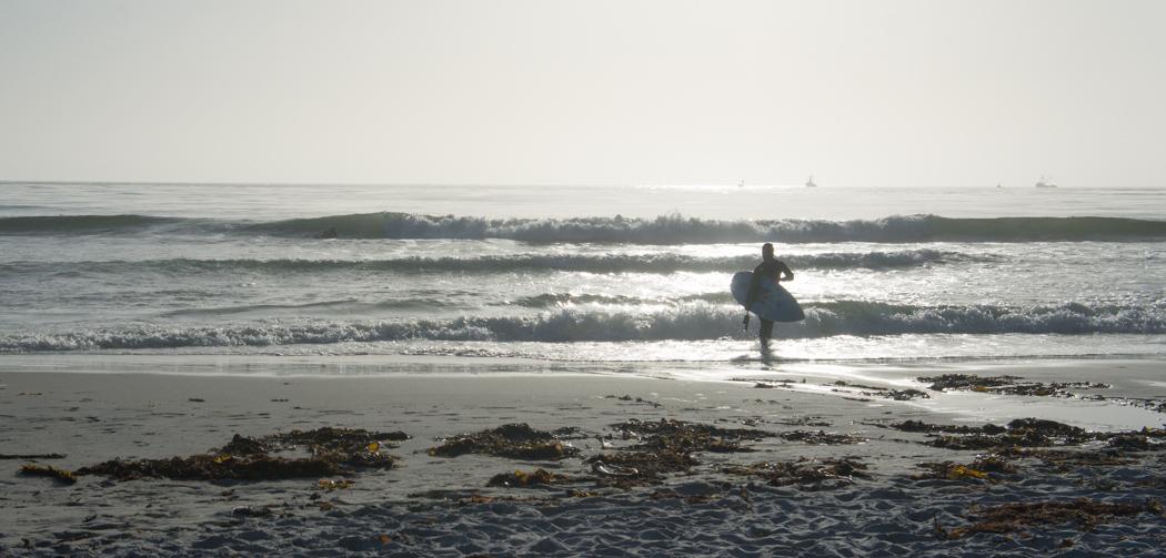 Surfeur sur la plage de Carmel - Pacifique - Californie