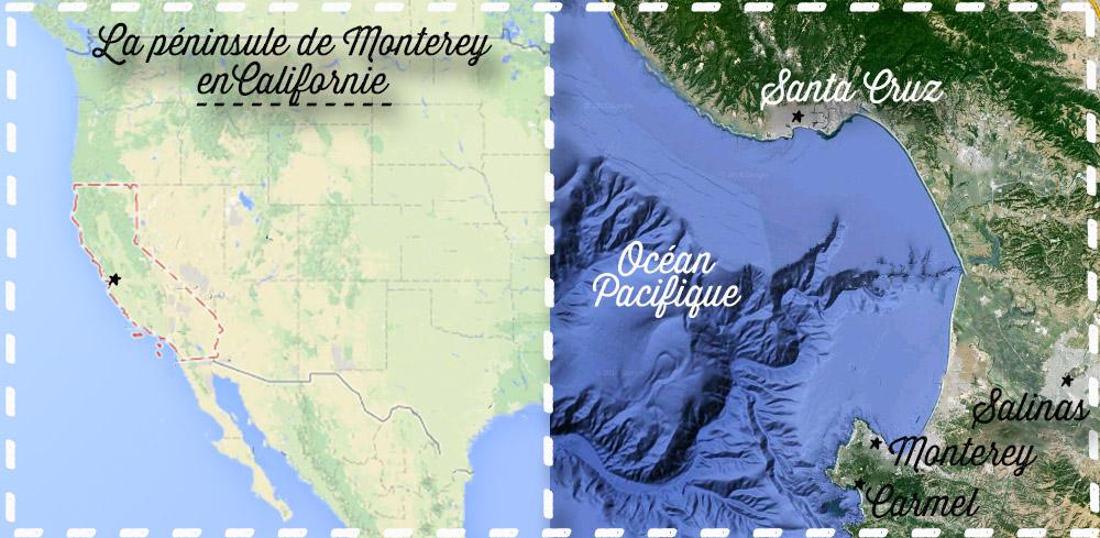 péninsule de monterey en californie - carte