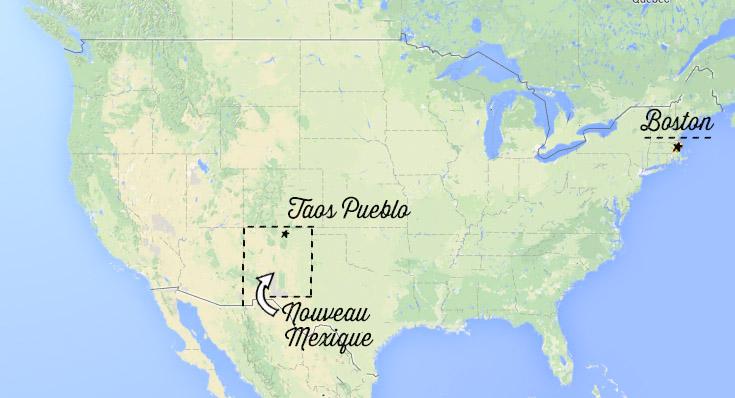 Taos Pueblo carte Nouveau Mexique et Etats-Unis