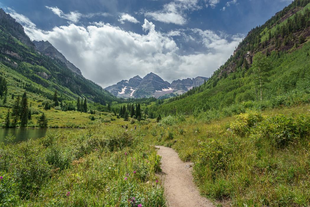 aspen Maroon Bells Colorado 1 prairie et fleurs de montagne petit chemin