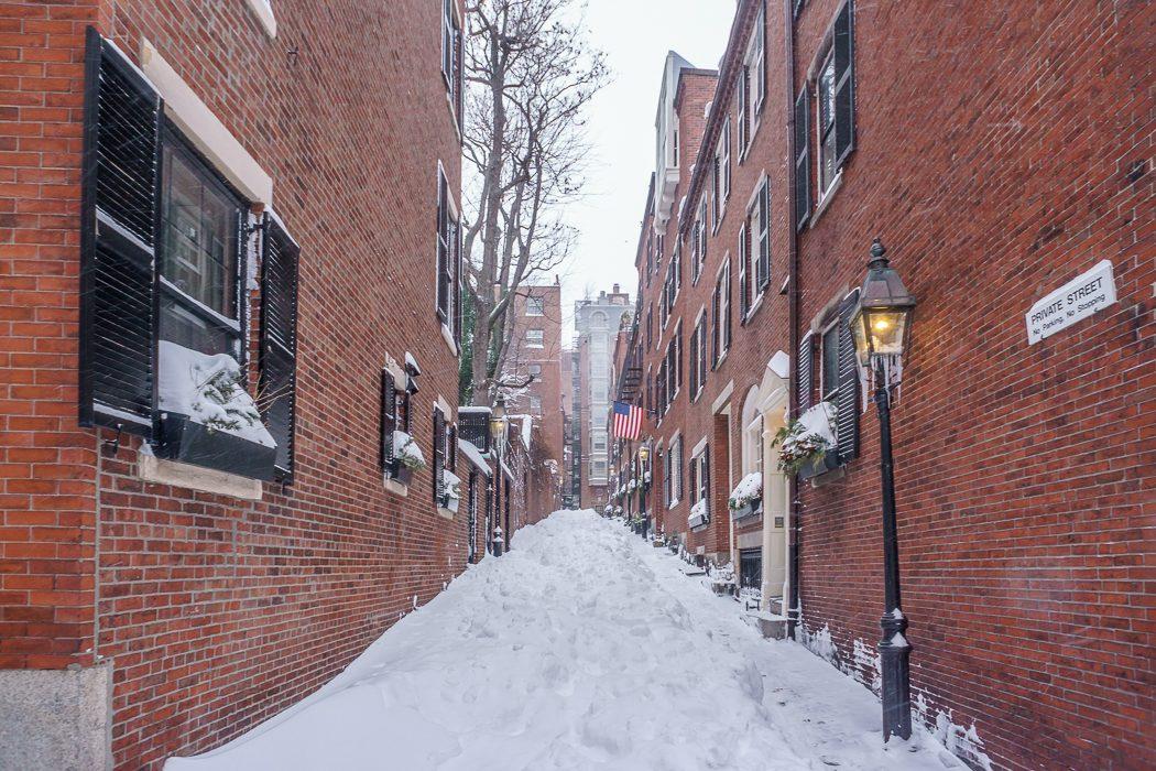boston blizzard Acorn Street Beacon Hill