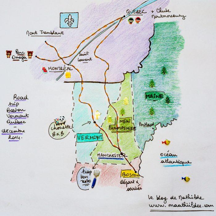 Carte voyage road trip Boston Vermont Québec