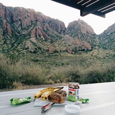 Petit déj au camping Big Bend