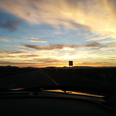 sunset road trip