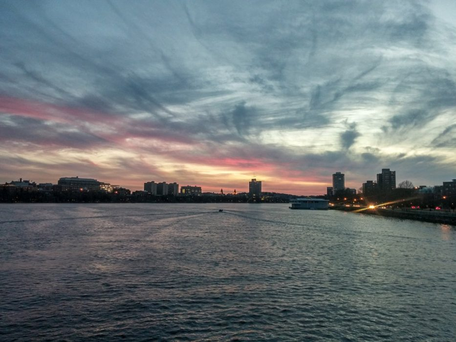 Boston sunset sur le Harvard Bridge