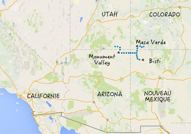 carte sud ouest américain monument valley bisti mesa verde