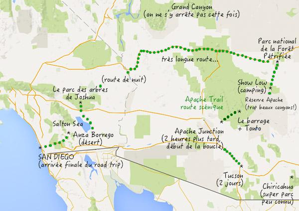 carte road trip Arizona apache trail