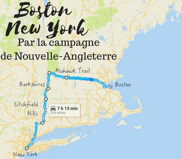 Boston New York par la campagne de Nouvelle Angleterre