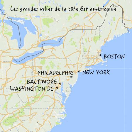 Carte : les grandes villes de la cote est