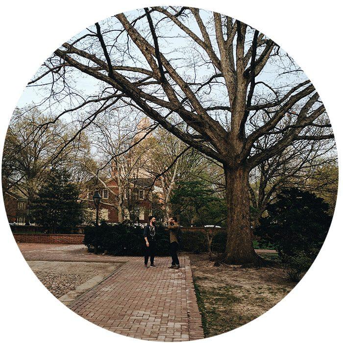 Discussion sous un gros arbre sans feuille Philadelphie