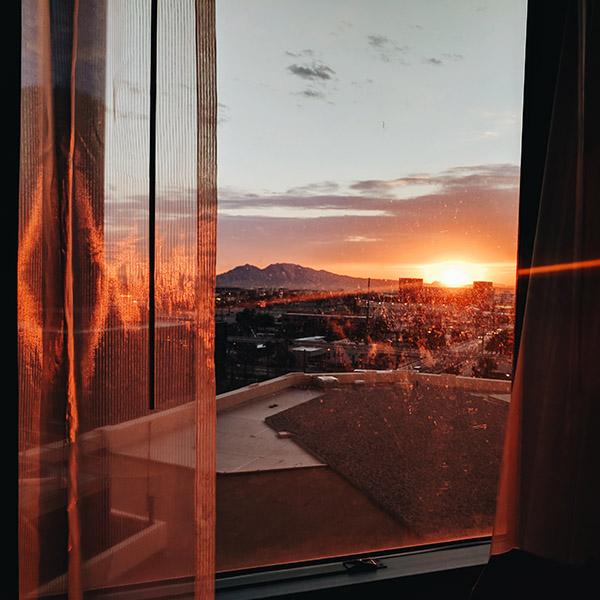 Lever de soleil depuis l'hotel a Las Vegas