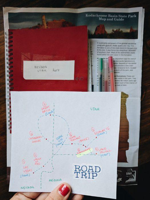 Carte road trip Utah